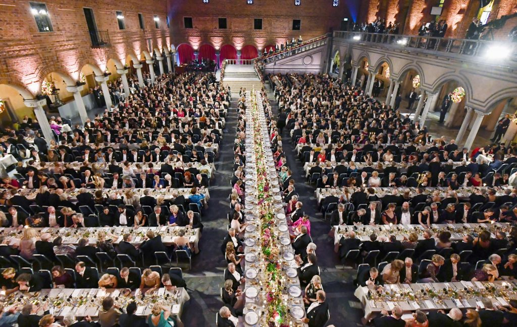 Around 1,300 people attend the Nobel Banquet held at the Stockholm City Hall in the Swedish capital on Dec. 10, 2018, after the award ceremony. (Kyodo) ==Kyodo (Photo by Kyodo News via Getty Images)